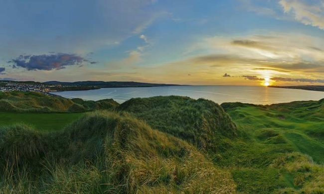 View from out onto the ocean at Lahinch Golf Club, Lahinch, Co. Clare, Ireland
