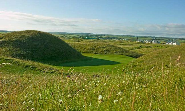 View down onto green at Lahinch Golf Club, Lahinch, Co. Clare, Ireland