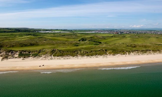 Aerial image of the golf course at Royal Portrush Golf Club, Portrush, Co. Antrim, Northern Ireland